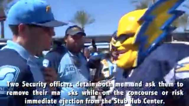 """Image from video of Dan Jauregui as """"Boltman"""" and his interaction with StubHub security at Sept. 24, 2017, Chargers-Chiefs game."""