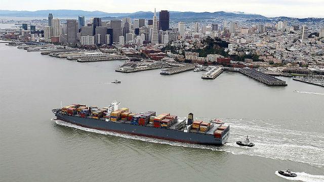 Container ship in San Francisco Bay