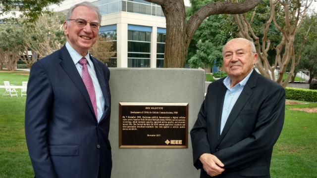 Irwin Jacobs and Andrew Viterbi with IEEE plaque