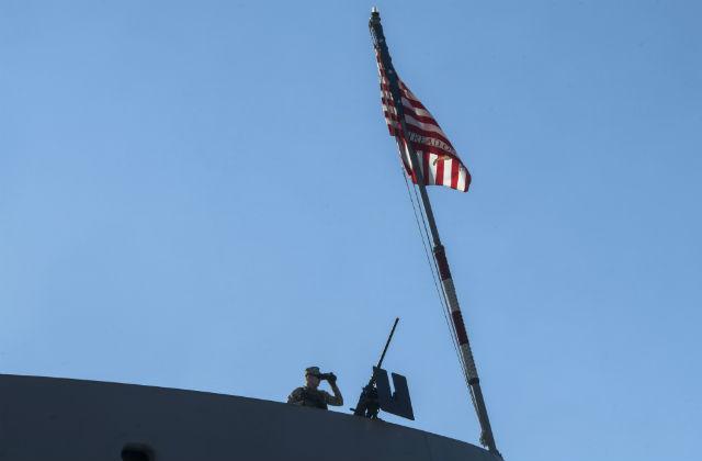Marine standing the watch
