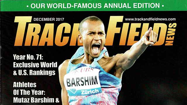 Portion of cover of December 2017 issue of Track & Field News — the last print edition.