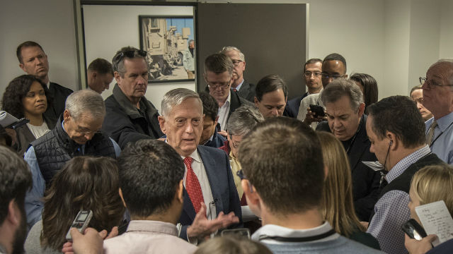 James Mattis with reporters