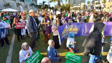 "Union members attend a ""Working People's Day of Action"" rally outside of the San Diego Convention Center. Photo by Chris Stone"