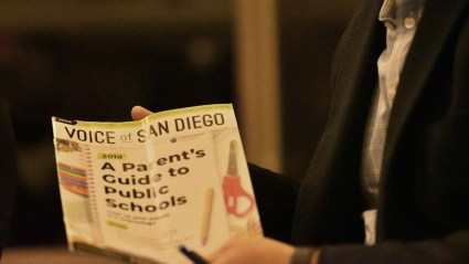 Tony Manolatos displays Voice of San Diego publication he says is overly friendly to charter schools.
