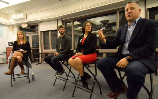 Claire Trageser of KPBS moderated panel including (from left) Winston Taylor, Dulce Garcia and Tony Manolatos.