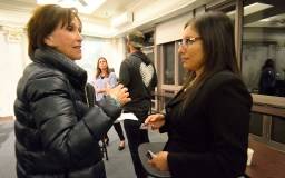 NBC San Diego reporter Rory Devine chats with Dulce Garcia after 70-minute forum.