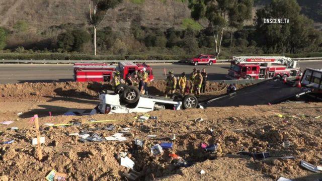 overturned gilman crash onscene