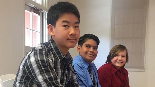 Kevin Luo (left) topped finals of County Spelling Bee.