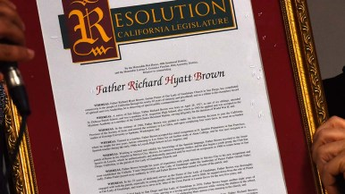 A state legislature resolution commends the Rev Richard Brown for his service to his community.
