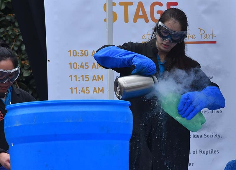 Reuben H. Fleet Science Center personnel prepare a liquid nitrogen explosion.