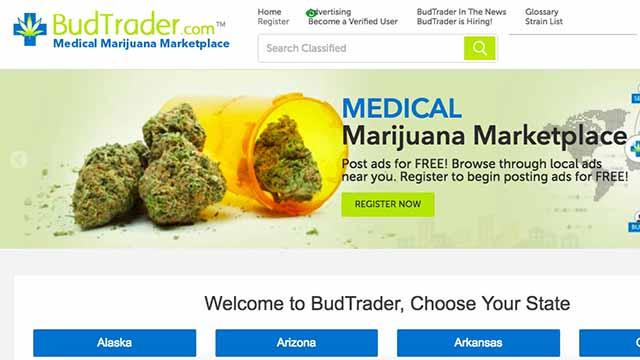 Homepage of BudTrader.com, medical marijuana marketplace