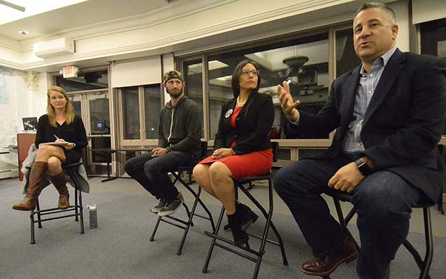 Claire Trageser of KPBS moderated panel including (from left) Winston Taylor, Dulce Garcia and Tony Manolatos