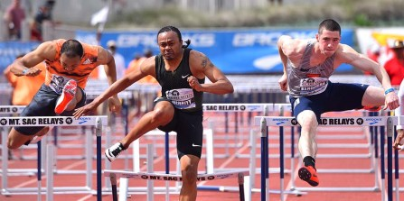Aries Merritt, hitting hurdle, would lose to David Kendziera of lllinois, 13.47 to 13.49 at Mt. SAC Relays.