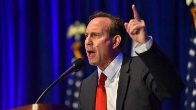 Eric P. Early, GOP candidate for attorney general, speaks at the California Republican Party Convention in San Diego.