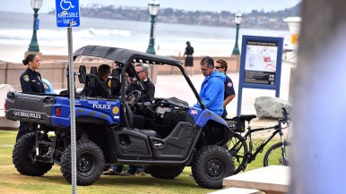 San Diego patrol unit was a nearby presence at beach games event. SDPOD will be a major part of 2019 security.