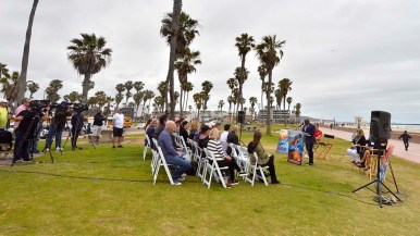 """""""May Gray"""" skies overlook press conference on 2019 ANOC World Beach Games."""