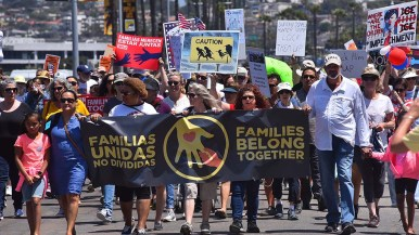 Thousands of people gathered in downtown San Diego to protest immigration policy.