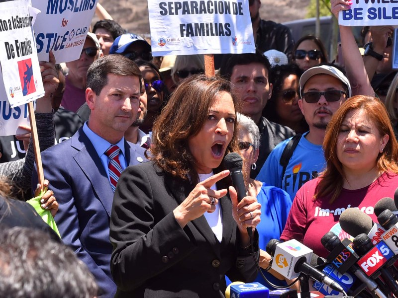 Sen. Kamala Harris speaks at Otay Mesa rally