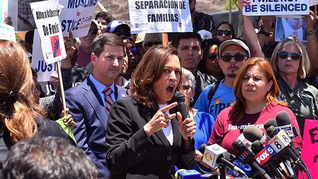 Sen. Kamala Harris speaks at Otay Mesa rally.