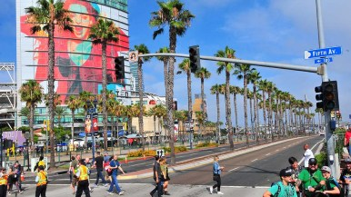 Harbor Boulevard in front of the convention center is closed to traffic to ease the congestion.