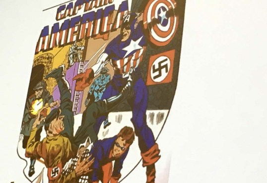 A anti-Nazi comic shows Captain America punching Adolph Hitler.