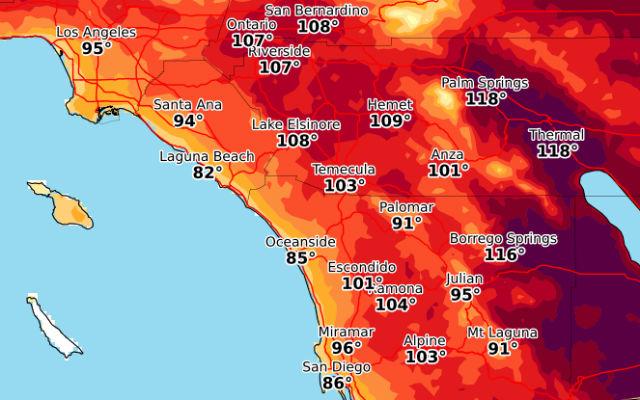 Forecast highs on Tuesday