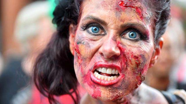 Zombies growled their way through a packed Gaslamp Quarter, weaving down Fifth Avenue on their own.
