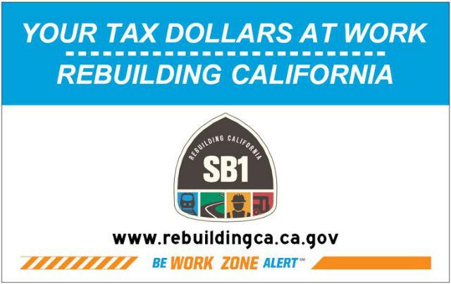Caltrans Senate Bill 1 sign