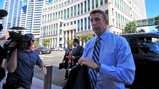 Rep. Duncan Hunter arrives at the federal courthouse in downtown San Diego.