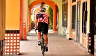 Mark Meuser, Republican candidate for secretary of state, bikes off to his next campaign event in La Jolla.