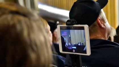 "Evelina ""Eva"" Hatch used a tripod to mount iPad Mini camera to record LAFCO hearing."