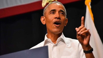 Former President Barack Obama throws his support behind congressional candidates at a Anaheim appearance.