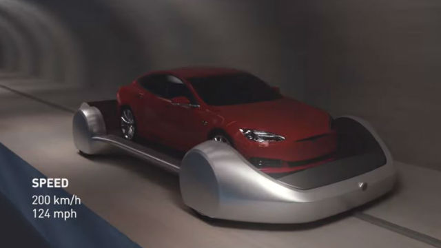 Car moving in underground tunnel