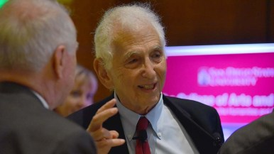 Daniel Ellsberg visited with audience members for at least 20 minutes after his appearance.