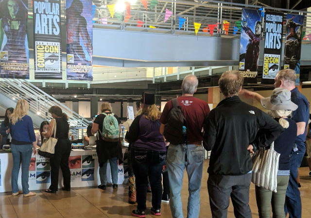 Attendees line up for Comic-Con Museum event