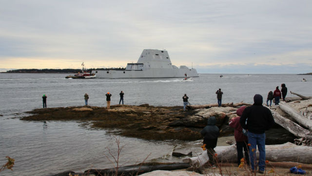 The future USS Michael Monsoor on the Kennebec River