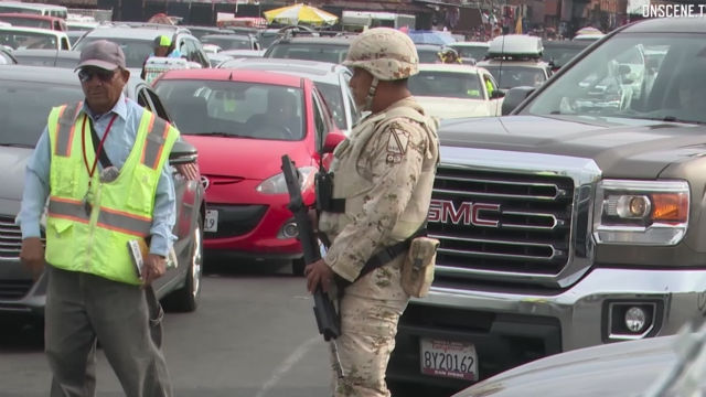 Mexican soldier guards San Ysidro port of entry