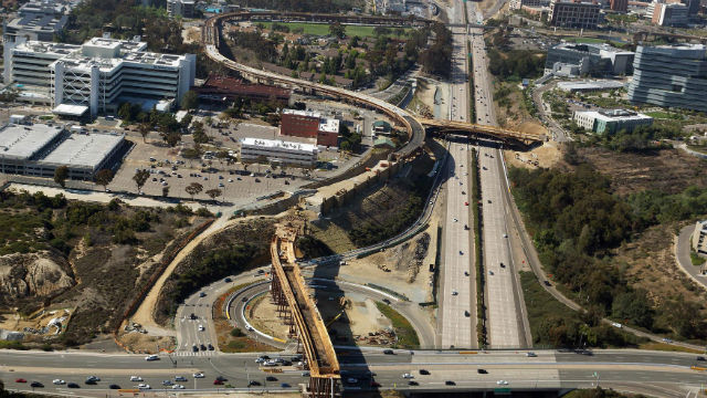 Aerial photo of Mid-Coast Trolley construction