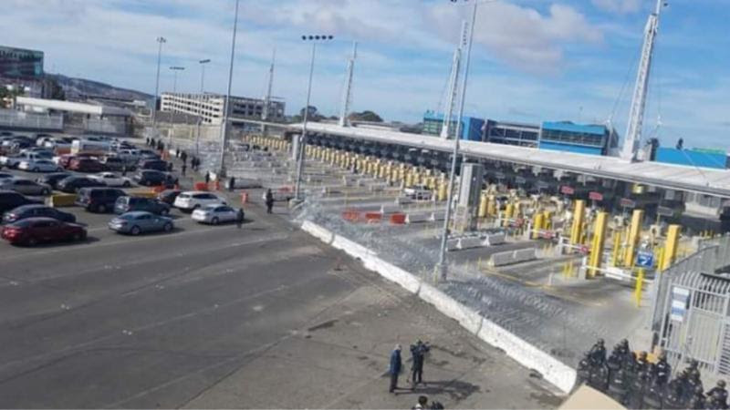 San Ysidro Port of Entry with concertina wire
