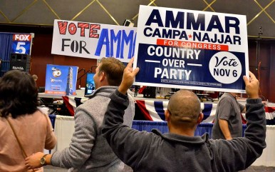Fans of Democrat Ammar Campa-Najjar shows signs of support despite his loss to Rep. Duncan Hunter in the 50th Congressional District.