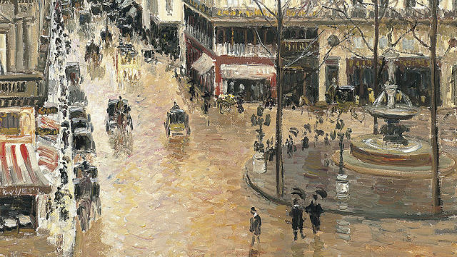 """A detail of Camille Pissarro's """"Rue Saint-Honore: Afternoon, Rain Effect."""""""