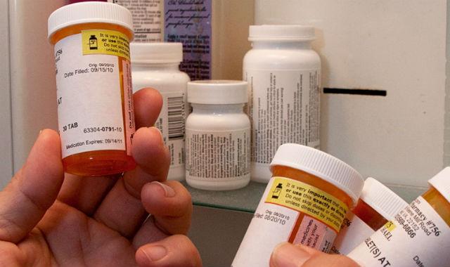 Prescription drugs in a medicine cabinet