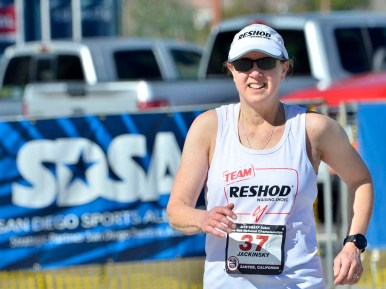 Carmen Jackinsky of Aloha, Oregon, was on a 6:15 pace for the 50K but had to drop out due to the heat.