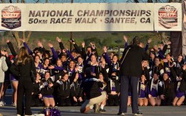 Sixty Santana High School cheerleaders pose for a prerace photo before spreading out along the 1.25-kilometer course.