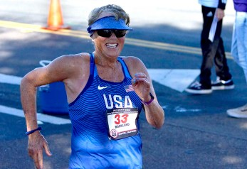 Masters record-holder Darlene Backlund of Palm Springs was the last 50K finisher in 7:29:04 — a 14:28 mile pace at age 73.