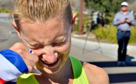 """Claire Tallent breaks down after 50K finish, saying she was """"overwhelmed"""" by the moment in which she potentially qualified for the 2020 Tokyo Olympics."""