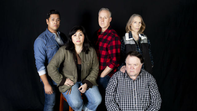 """The cast of """"The Hour of Great Mercy"""" at Diversionary Theatre."""