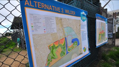 Organizers displayed alternative plans for expanding the wetlands off of Mission Bay.