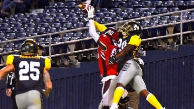 Fleet cornerback Justin Williams breaks up a touchdown pass.