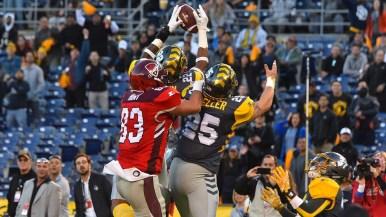Fleet free safety Jordan Martin grabs a pass and runs it in for a touchdown.